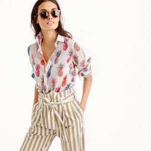 J. Crew Popover in Ratti painted pineapple shirt